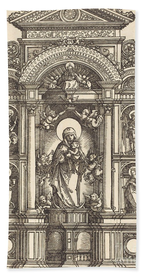 Beach Towel featuring the drawing Altar With The Virgin And Child And Saints Christopher, Barbara, George And Catherine by Albrecht Altdorfer