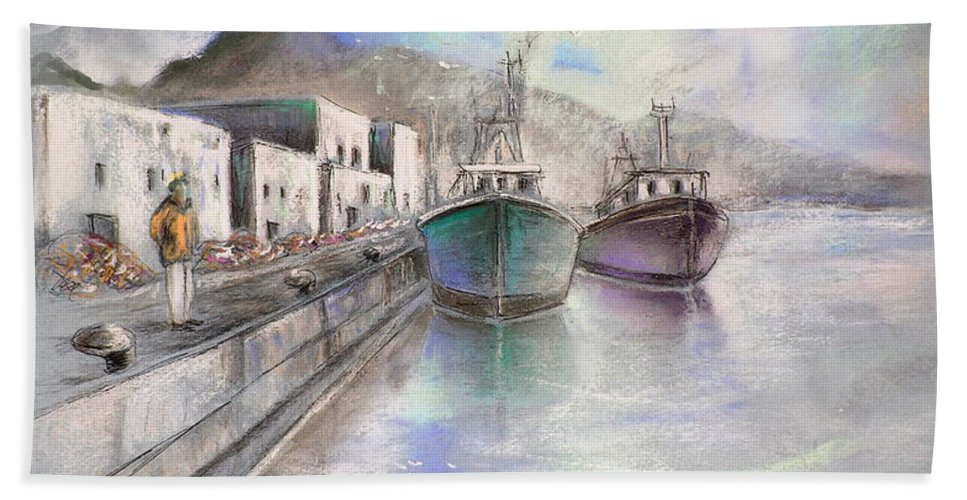 Altea Lanscape Beach Towel featuring the painting Altea Harbour On The Costa Blanca 01 by Miki De Goodaboom