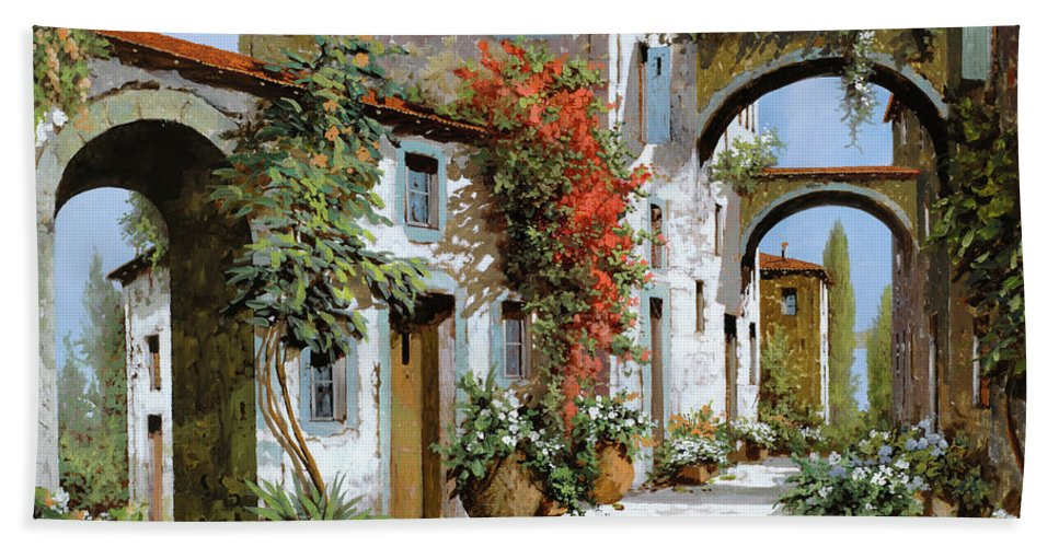 Arches Beach Towel featuring the painting Altri Archi by Guido Borelli