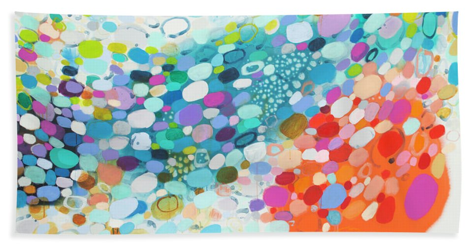 Abstract Beach Towel featuring the painting Always Looking For True Love by Claire Desjardins