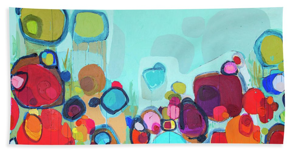 Abstract Beach Towel featuring the painting Always Will Be by Claire Desjardins