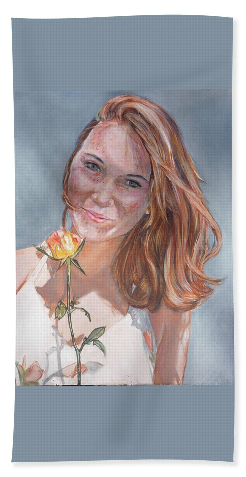 Innocent Beach Towel featuring the painting American Beauty by Bryan Bustard