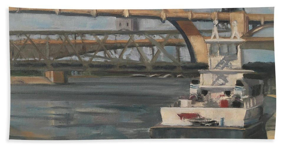 Mississippi Beach Towel featuring the painting American Beauty by Laura Toth
