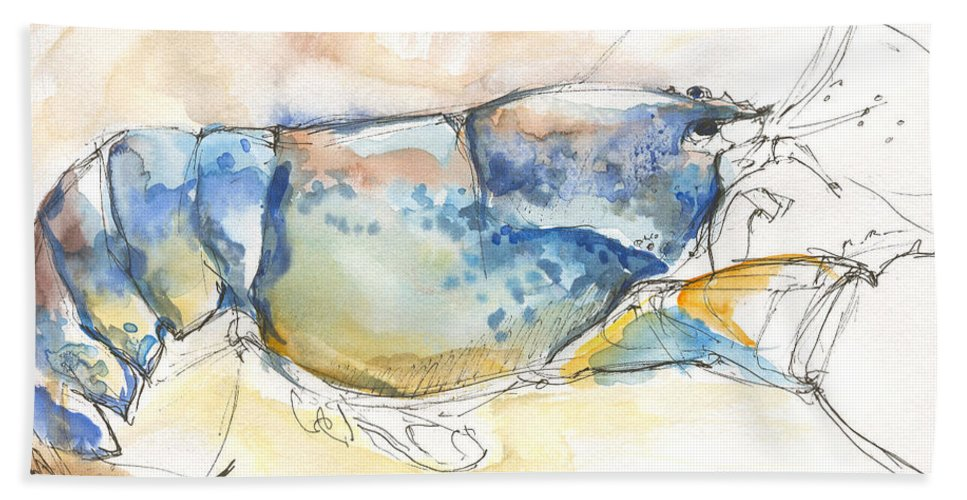 Lobster Beach Towel featuring the painting American Blue Lobster by Sarah Madsen