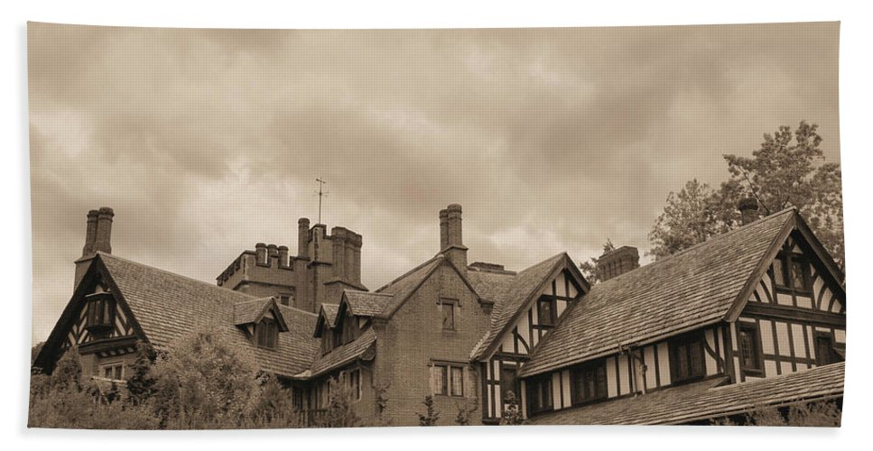 Stan Hywet Beach Towel featuring the photograph American Castle by Kristin Elmquist