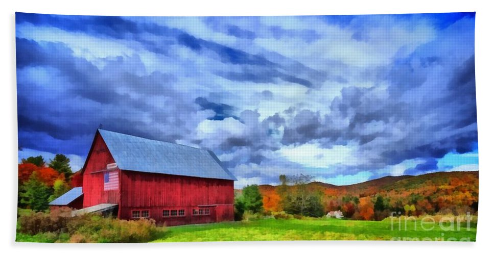 Red Beach Towel featuring the painting American Farmer by Edward Fielding