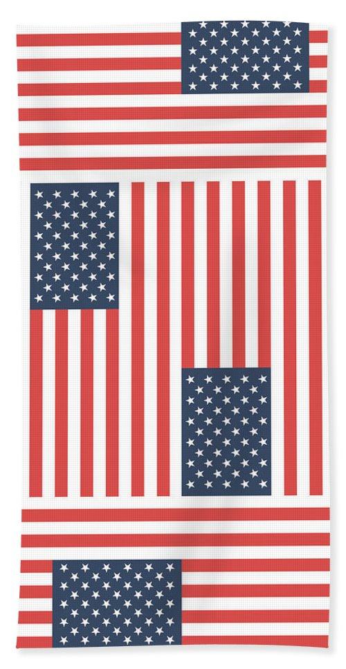 Flag Beach Towel featuring the drawing American Flag by Alina Krysko