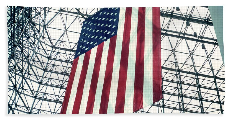 Flag Beach Towel featuring the photograph American Flag in Kennedy Library Atrium - 1982 by Thomas Marchessault