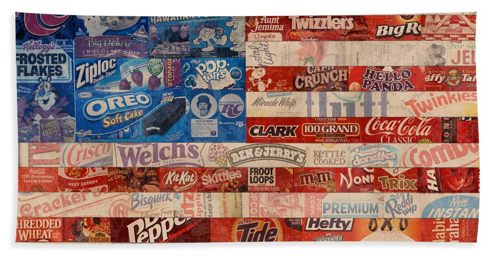 Flag Beach Towel featuring the mixed media American Flag - Made From Vintage Recycled Pop Culture Usa Paper Product Wrappers by Design Turnpike