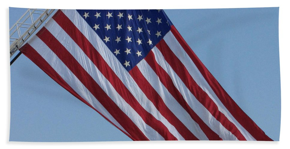 American Beach Towel featuring the photograph American Flag by Sarah Houser