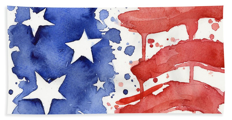 Red Beach Towel featuring the painting American Flag Watercolor Painting by Olga Shvartsur