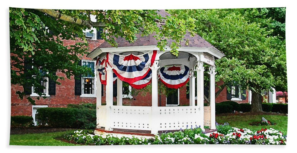 Gazebo Beach Towel featuring the photograph American Gazebo by Margie Wildblood