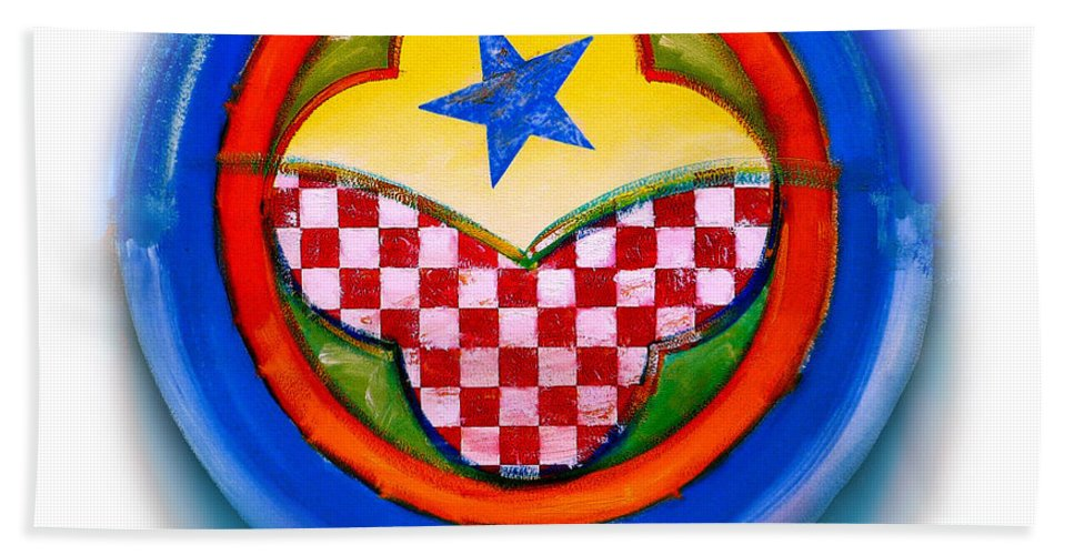 Pinball Beach Towel featuring the painting American Happiness Button by Charles Stuart