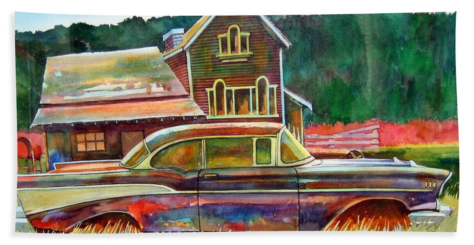 57 Chev Beach Towel featuring the painting American Heritage by Ron Morrison