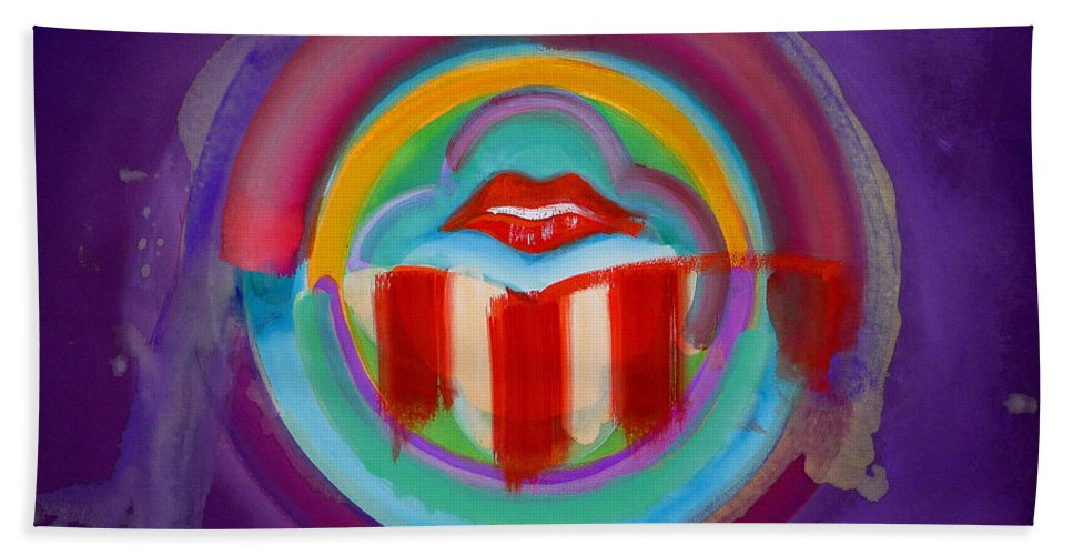 Button Beach Towel featuring the painting American Kiss by Charles Stuart