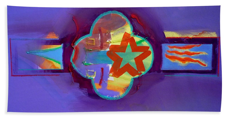 Star Beach Towel featuring the painting American Neon by Charles Stuart