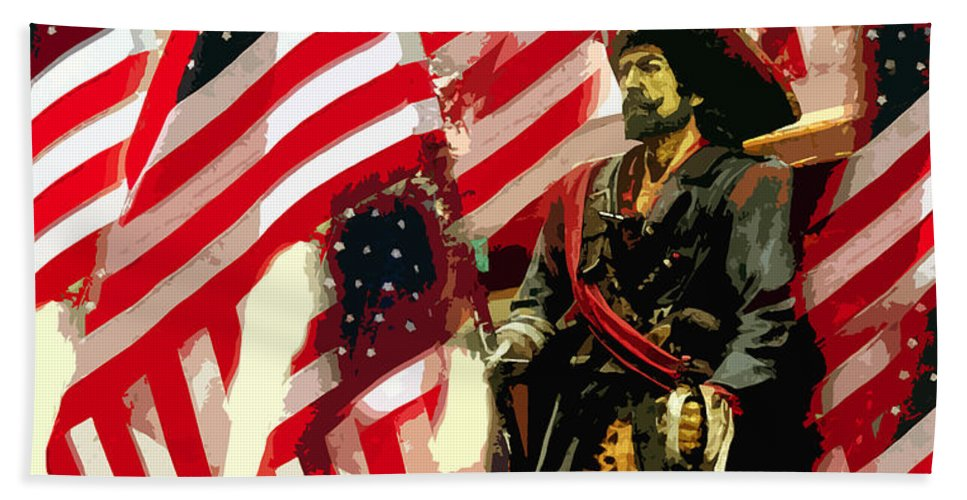 Pirate Beach Towel featuring the painting American Pirate by David Lee Thompson