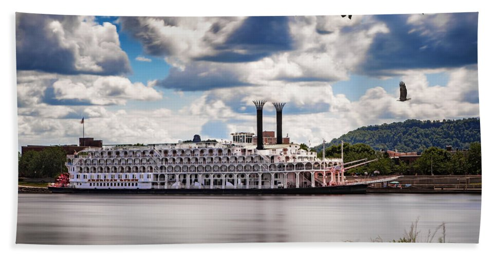 Boat Beach Towel featuring the photograph American Queen In Winona by Al Mueller