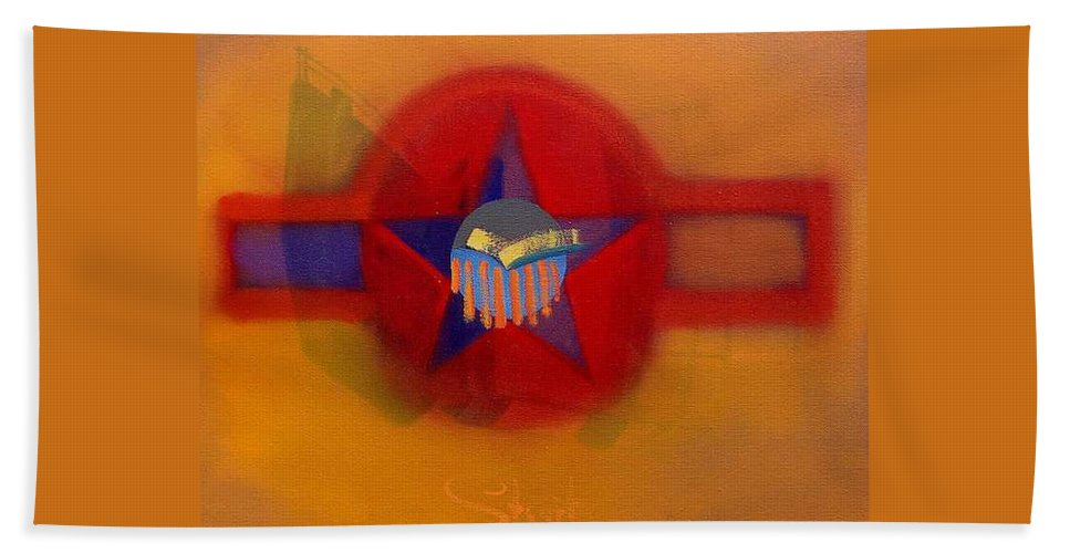 Usaaf Insignia And Idealised Landscape In Union Beach Towel featuring the painting American Sub Decal by Charles Stuart