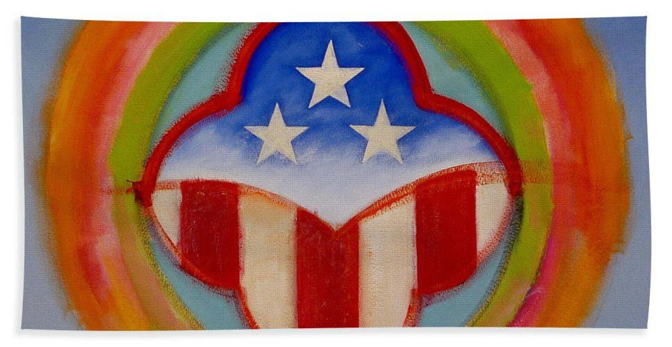 Logo Beach Sheet featuring the painting American Three Star Landscape by Charles Stuart