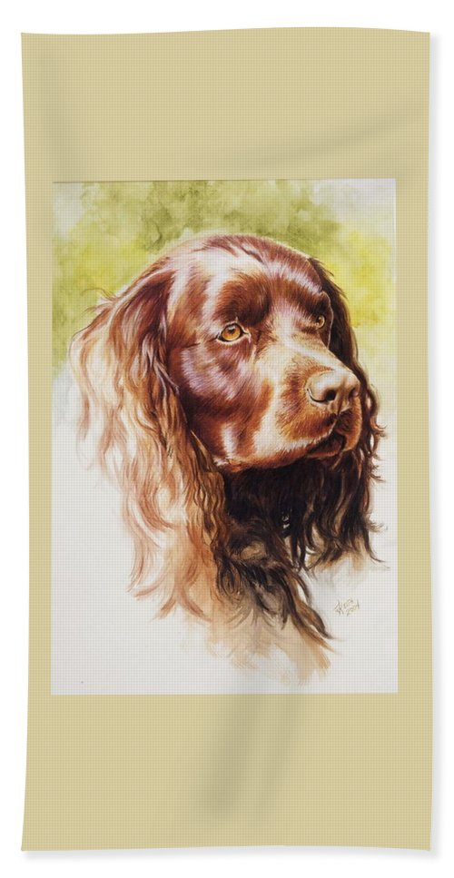 Sporting Beach Towel featuring the painting American Water Spaniel by Barbara Keith