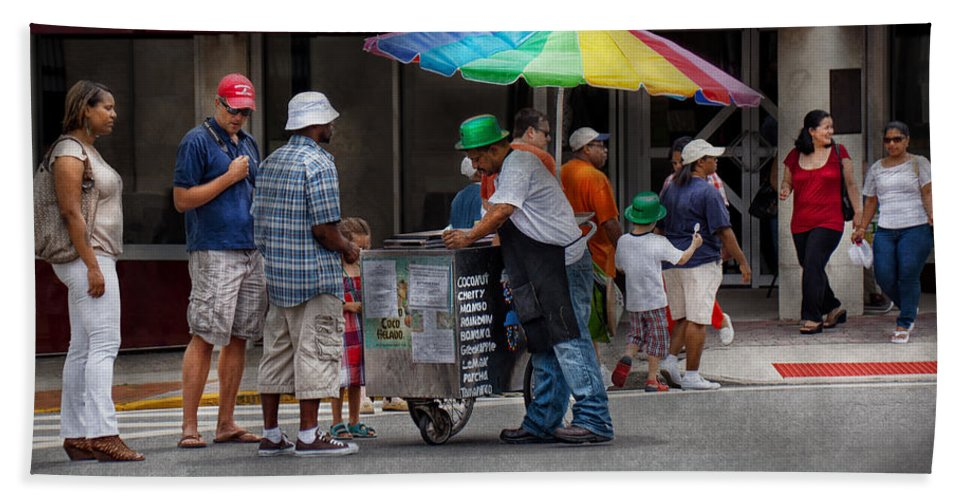 Hdr Beach Towel featuring the photograph Americana - Mountainside Nj - Buying Ices by Mike Savad