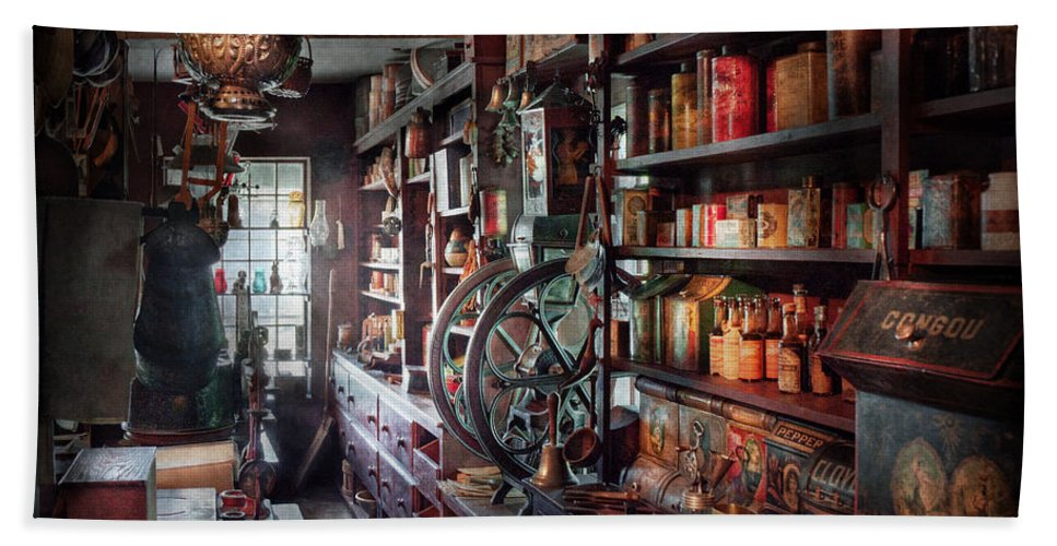 Hdr Beach Towel featuring the photograph Americana - Store - Corner Grocer by Mike Savad
