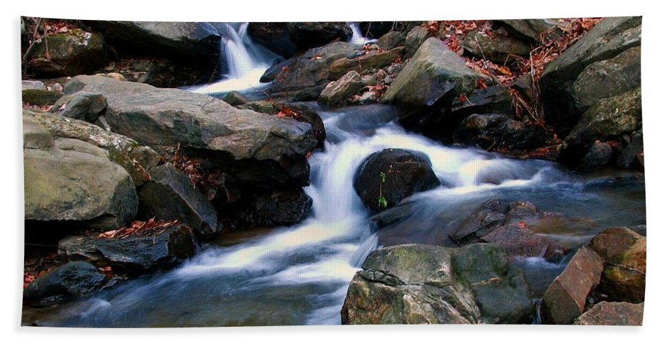 Water Beach Towel featuring the photograph Amicalola Stream by Robert Meanor