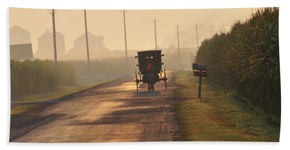 Amish Buggy Beach Towel featuring the photograph Amish Buggy And Corn Over Your Head by David Arment
