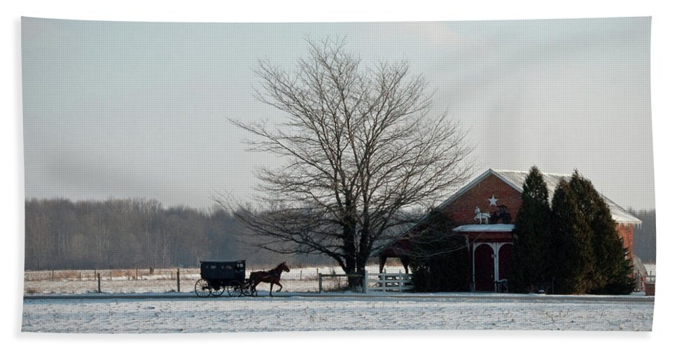 Amish Beach Towel featuring the photograph Amish Buggy And Old School by David Arment