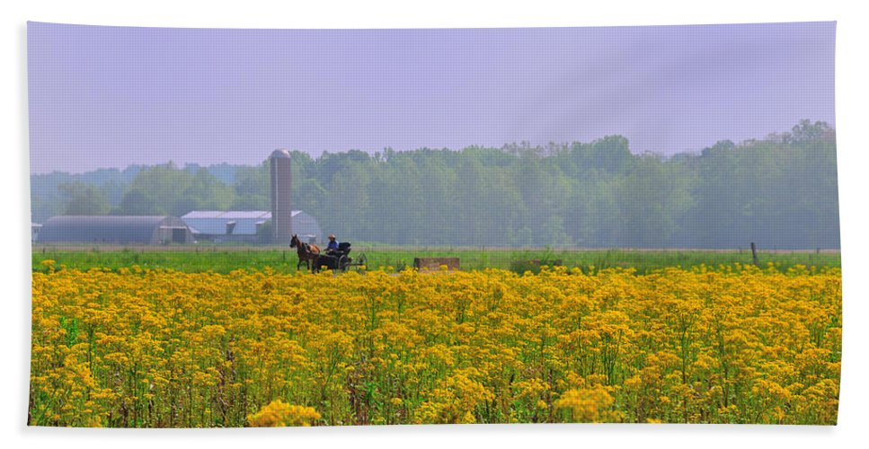 Amish Beach Towel featuring the photograph Amish Buggy And Yellow Field by David Arment