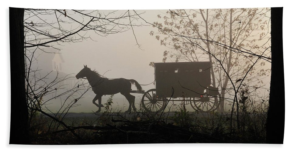 Amish Beach Towel featuring the photograph Amish Buggy Foggy Sunday by David Arment