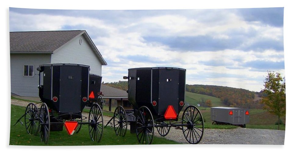 Amish Beach Towel featuring the photograph Amish Country Carts Autumn by Charlene Cox