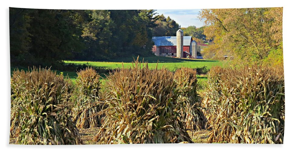 Amish Fall Harvest Beach Towel featuring the photograph Amish Farm Country Fall by Stephanie Forrer-Harbridge