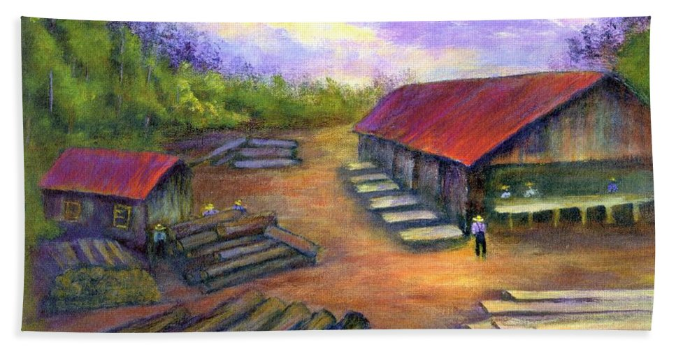 Amish Beach Sheet featuring the painting Amish Lumbermill by Gail Kirtz
