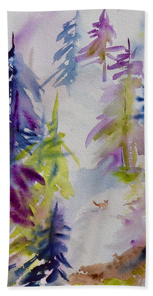 Among The Trees Beach Towel featuring the painting Among The Trees by Beverley Harper Tinsley