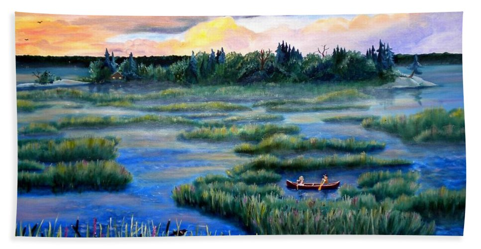 Water Beach Towel featuring the photograph Amongst The Reeds by Renate Nadi Wesley