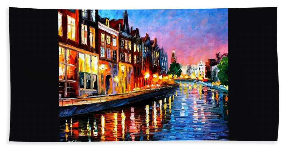 Afremov Beach Towel featuring the painting Amsterdam - Sunday Night by Leonid Afremov