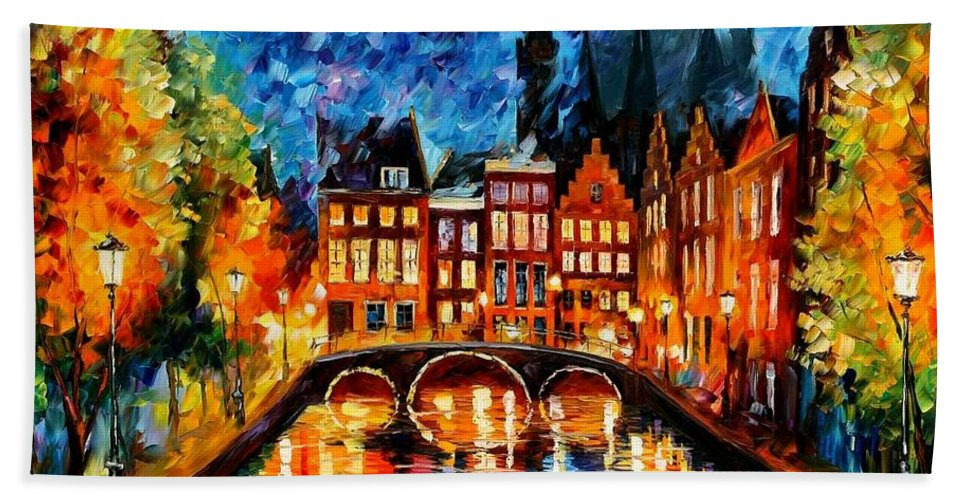 Afremov Beach Towel featuring the painting Amsterdam Canal by Leonid Afremov
