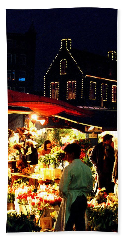 Flowers Beach Sheet featuring the photograph Amsterdam Flower Market by Nancy Mueller