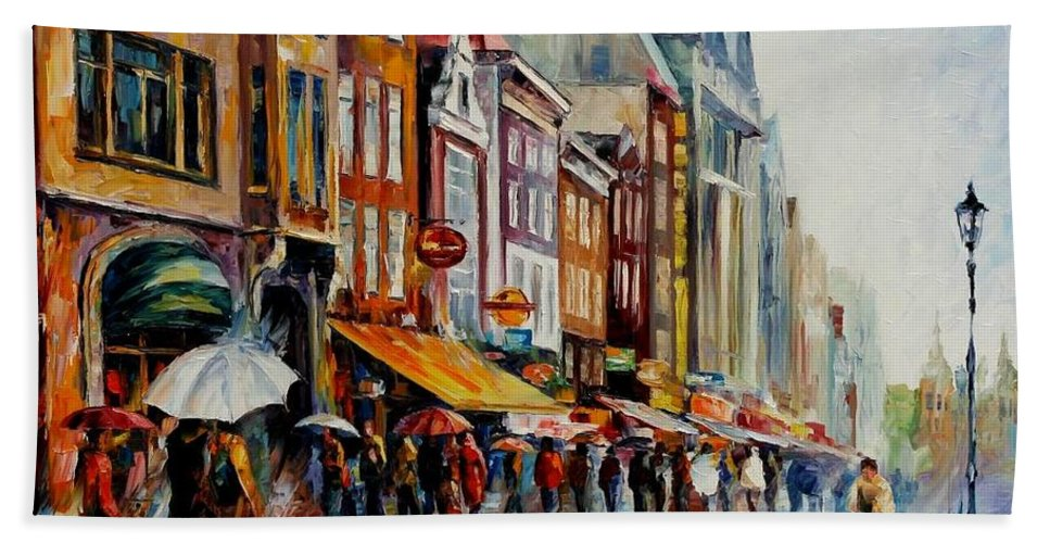 Afremov Beach Towel featuring the painting Amsterdam's Rain by Leonid Afremov