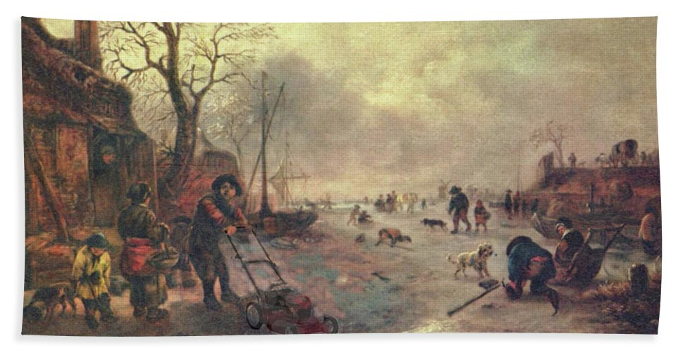 Altered Art Beach Towel featuring the digital art Amusement On The Ice 1645 by John Saunders