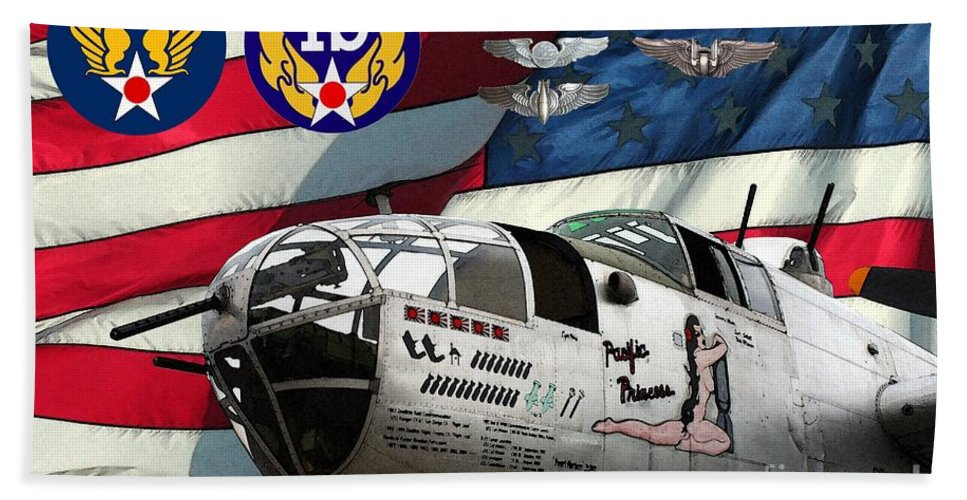 North American Beach Towel featuring the digital art An American B-25c Pof by Tommy Anderson
