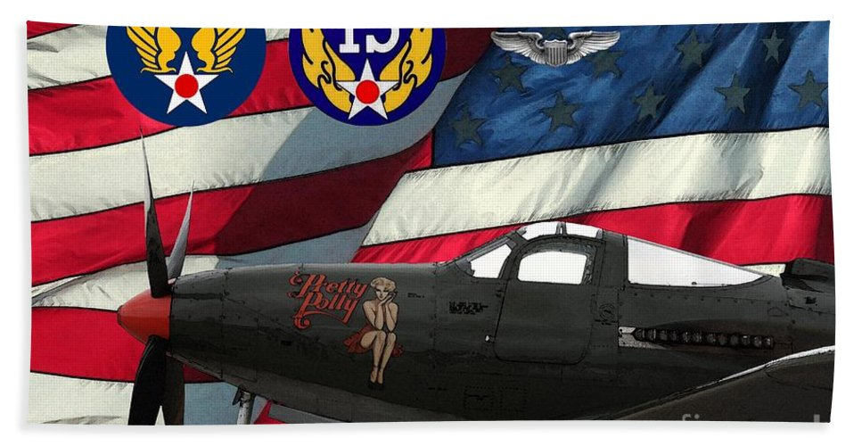 Bell Beach Towel featuring the digital art An American P-63 Pof by Tommy Anderson