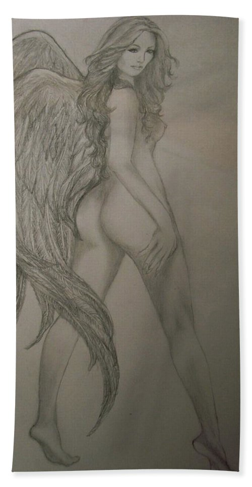 Angel Beach Towel featuring the drawing An Angel by Glory Fraulein Wolfe