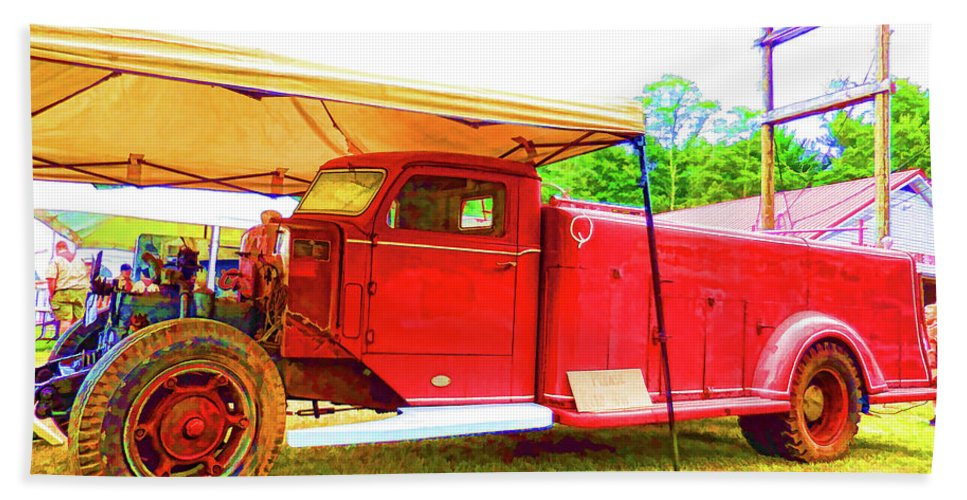 Antique Beach Towel featuring the painting An Antique Fire Department Vehicle On Display 1 by Jeelan Clark