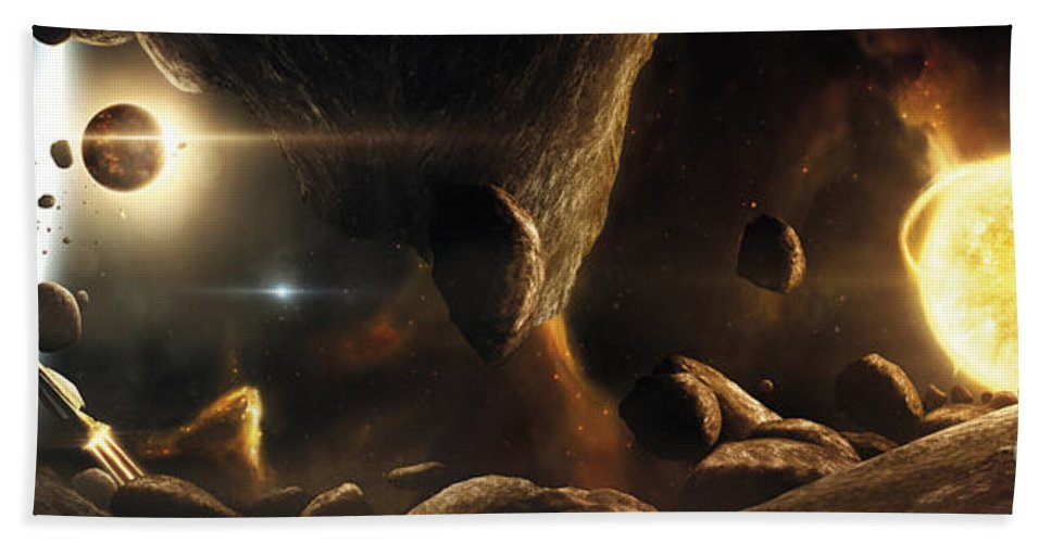 Horizontal Beach Towel featuring the digital art An Asteroid Field Next To An Earth-like by Tobias Roetsch