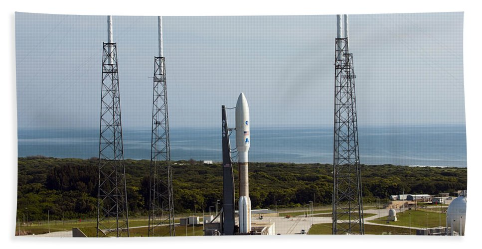 Florida Beach Towel featuring the photograph An Atlas V-551 Launch Vehicle At Cape by Stocktrek Images