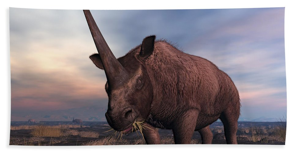 Earth Beach Towel featuring the digital art An Elasmotherium Grazing by Walter Myers