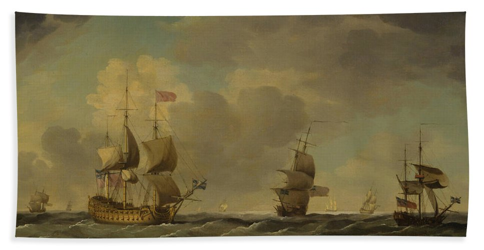 18th Century Art Beach Towel featuring the painting An English Flagship Under Easy Sail In A Moderate Breeze by Charles Brooking